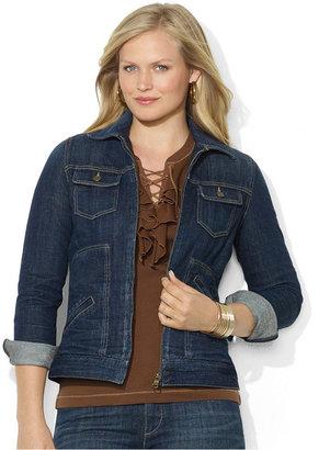 Lauren Ralph Lauren Plus Size Zip-Up Denim Jacket, High Mountain Wash