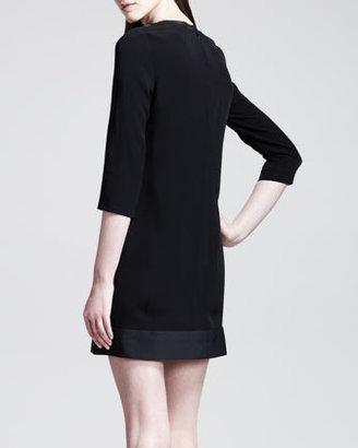 Victoria Beckham Victoria by Polka-Dot Fil Coupe 3/4-Sleeve Shift Dress