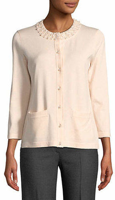 Karl Lagerfeld PARIS Faux Pearl Neck Buttoned Cardigan