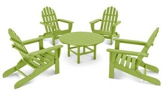 Polywood Classic Adirondack 5 Piece Multiple Chairs Seating Group Frame Color: Lime