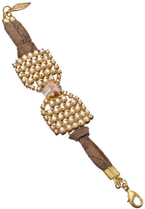 Sara Designs Gold Leather and Crystal Bow Bracelet