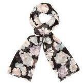 Dorothy Perkins Womens Dark Floral Chiffon Scarf- Black