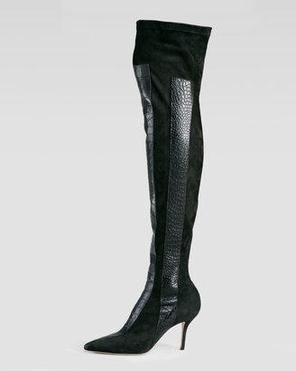 Paul Andrew Print-Panel Over-The-Knee Boot, Black