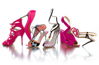 Webster Sophia Leilou Striped T-Strap Sandal, Pink