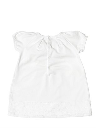 Il Gufo Cotton Jersey Dress With Lace Trimming