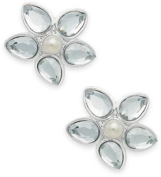 Charter Club Earrings, Silver-Tone Acrylic Pearl Flower Stud Earrings