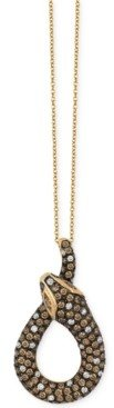 LeVian Le Vian Chocolate and White Diamond Snake Pendant Necklace in 14k Gold (1-7/8 ct. t.w.)
