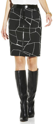 Vince Camuto Patent Trimmed Giraffe Skirt