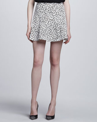 Tibi Yoked Animal-Print Skirt