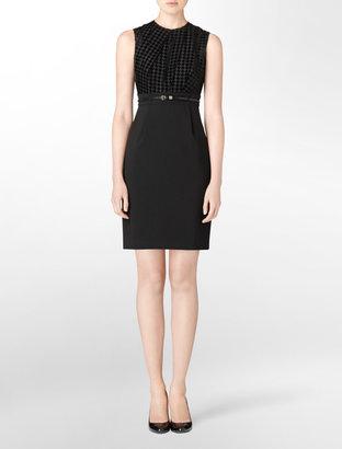 Calvin Klein Flocked Houndstooth Belted Shift Dress