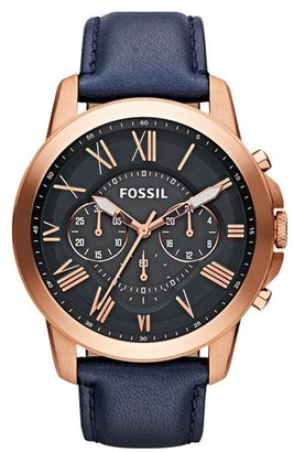 Fossil 'Grant' Round Chronograph Leather Strap Watch, 44mm $135 thestylecure.com