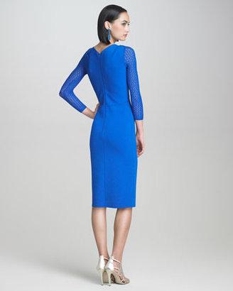 Oscar de la Renta Lace-Sleeve Dress
