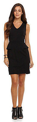 Vince Camuto Faux-Leather-Detail Peplum Dress