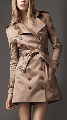 Burberry Mid-Length Nude Sateen Trench Coat