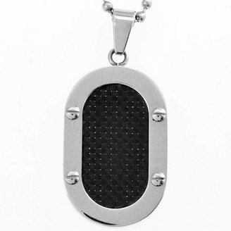 FINE JEWELRY Mens Black Carbon Fiber Dog Tag Stainless Steel