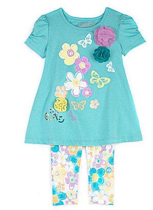 Flapdoodles Ruched-Sleeve Dress & Floral-Printed Leggings Set