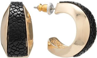 Dana Buchman gold tone textured c-hoop earrings