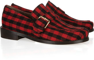 Marni Plaid flannel-covered leather loafers