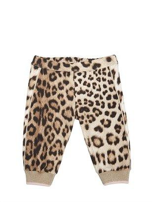Roberto Cavalli Leopard Print Jersey Jogging Pants