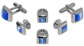 Forzieri Studs - Blue Elegant Silver Plated Cuff Links