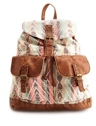 Charlotte Russe Aztec Print Canvas Backpack