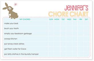 Bunny Personalized Chore Chart Pad