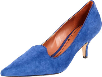Elizabeth and James Clark Pointed-Toe Suede Smoking-Slipper Pump, Blue