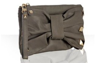Felix Rey grey leather 'Emma' bow detail wristlet