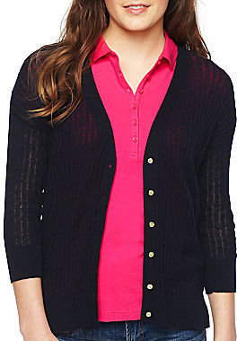 JCPenney Asstd National Brand jcp 3/4-Sleeve Cardigan - Petite/Tall