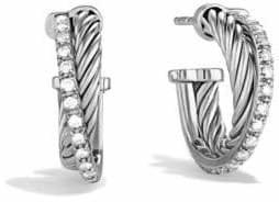 David Yurman Crossover Extra-Small Hoop Earrings with Diamonds