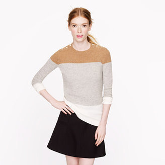 J.Crew Collection cashmere button waffle sweater