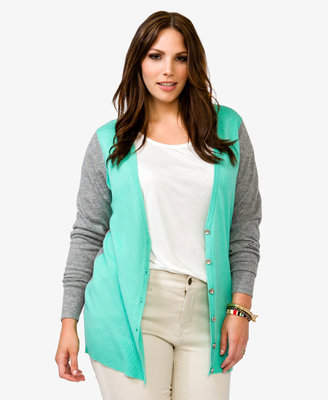 Forever 21 FOREVER 21+ Heathered Contrast Cardigan