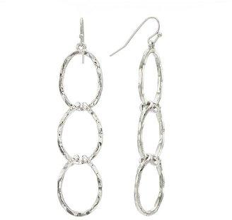 Apt. 9 silver tone hammered linear drop earrings