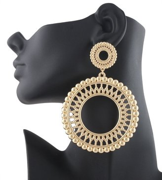 Gold Circular Disks Style 4.25 Inch Drop Earrings Basketball Mob Wives Lady Gaga Paparazzi