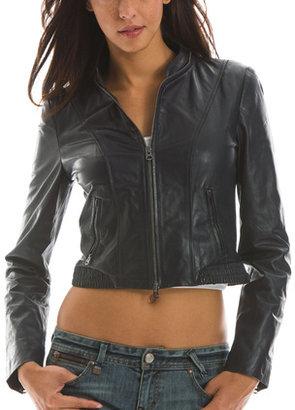 Armani Exchange Cropped Leather Jacket Online Exclusive
