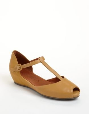 Gentle Souls Sweet Lily Leather T-Strap Wedge Sandals