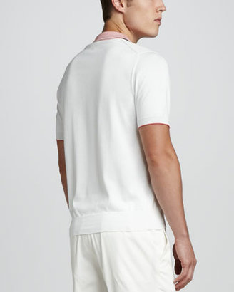 Brioni White Polo with Striped Collar