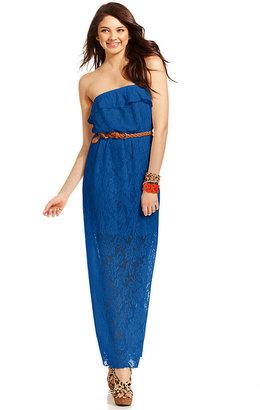 Trixxi Juniors' Strapless Lace Illusion Maxi Dress