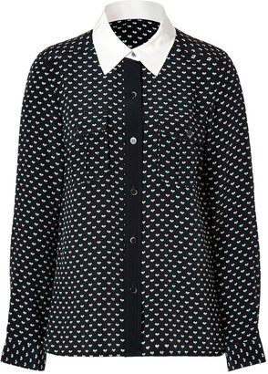 Marc by Marc Jacobs Silk Vivie Print Blouse in General Navy Multi