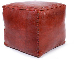 Found Object Tempe Cube Pouf Brown