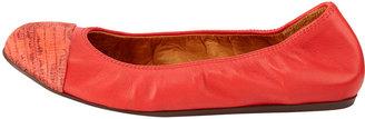 Lanvin Lizard-Print Cap-Toe Ballerina Flat, Red