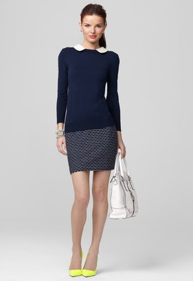 Milly Sweaters - Navy Leather Collar Sweater