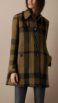 Burberry Check Wool Blend Swing Coat
