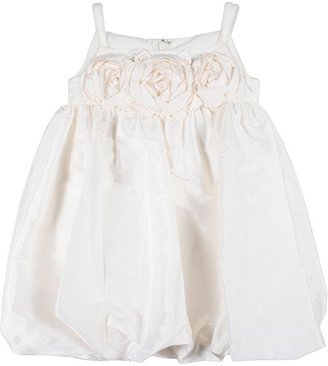 Us Angels Bubble Dress w/ Rosettes (Toddler) (Ivory) - Apparel