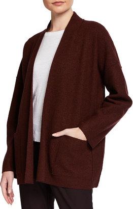 Eileen Fisher Boiled Wool High Collar Open Jacket