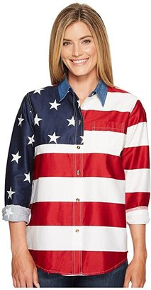 Roper L/S Stars and Stripes Pieced Flag (Red 2) Women's Long Sleeve Button Up