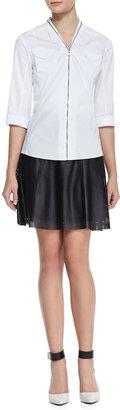 T Tahari Caroline Perforated Faux-Leather Skirt