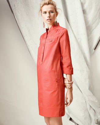 Neiman Marcus Linen-Blend Shirt Dress