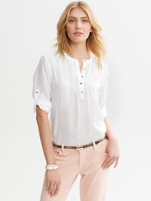 Banana Republic Silk Pintuck Roll-Sleeve Blouse