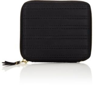Comme des Garcons Men's Channel-Stitched Zip-Around Wallet-BLACK